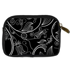 Black & White Swirls Digital Camera Leather Case By Klh   Digital Camera Leather Case   Nvzl3rdcsutl   Www Artscow Com Back