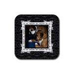 Black & White Square Coaster - Rubber Coaster (Square)