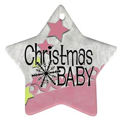 Christmas Baby Pink   Ornament By Carmensita   Star Ornament (two Sides)   3miaghc5rj0m   Www Artscow Com Back