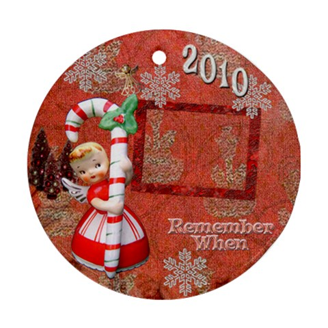Angel Blonde Remember When 2010 Ornament 32 Ornament Round By Ellan   Ornament (round)   8meozadp2gd6   Www Artscow Com Front