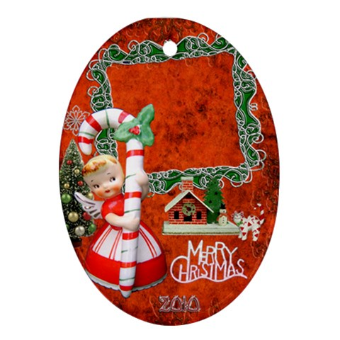 Merry Christmas Candy Cane Angel 31 Oval Christmas Ornament By Ellan   Ornament (oval)   2nmbndqrvw6i   Www Artscow Com Front