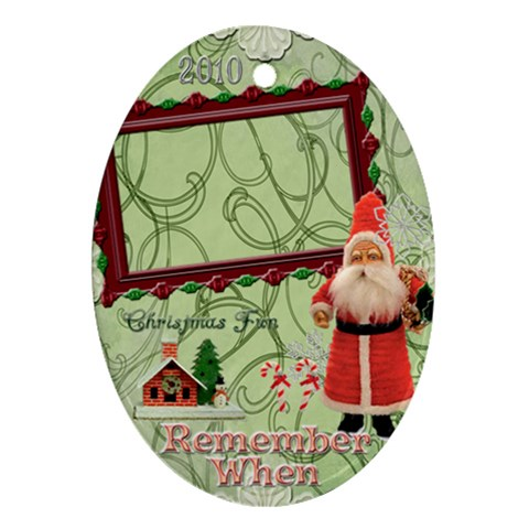 Santa Remember When Oval Christmas Ornament By Ellan   Ornament (oval)   43mgovs3o755   Www Artscow Com Front