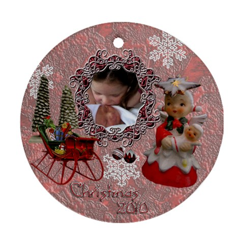 Angel W Baby Pink 2010 30 Ornament Round By Ellan   Ornament (round)   53abmcsnezdy   Www Artscow Com Front