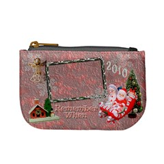 Stocking Stuffer Remember When Santa Sleigh Pink Merry Christmas Mini Coin Purse By Ellan Front