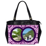 Purple floral eden oversized office bag b - Oversize Office Handbag (2 Sides)