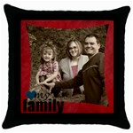 Love my family pillow red - Throw Pillow Case (Black)