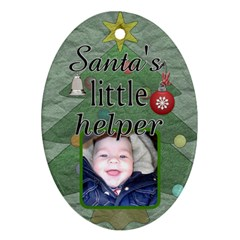 Santa s Little Helper Ornament By Lil    Oval Ornament (two Sides)   Txpcu7mxzefb   Www Artscow Com Front