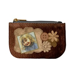 Brown Floral Coin Purse By Lillyskite   Mini Coin Purse   Ibf4w71fomyf   Www Artscow Com Front
