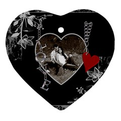 Black Floral Love Heart Ornament By Lil    Heart Ornament (two Sides)   P22n165lqbws   Www Artscow Com Front