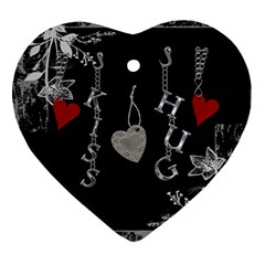 Black Floral Love Heart Ornament By Lil    Heart Ornament (two Sides)   P22n165lqbws   Www Artscow Com Back