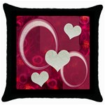 I Heart You 22 Pink Throw Pillow Case 18 inch - Throw Pillow Case (Black)