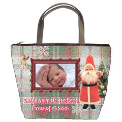 Santa Gave Us Best Present Of 2010 Christmas Bucket Bag By Ellan   Bucket Bag   Z82oiklooo0l   Www Artscow Com Front