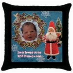 Santa Brought Us the BEST Present in 2010 blue Throw Pillow Case 18 inch - Throw Pillow Case (Black)