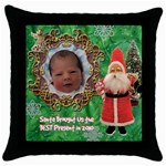 Santa Brought Us the BEST Present in 2010 green Throw Pillow Case 18 inch - Throw Pillow Case (Black)
