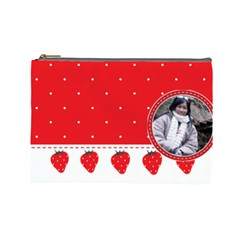 Red Pokka Dot Kawaii Cosmetic Bag By Joyce   Cosmetic Bag (large)   Z7vbgle169m4   Www Artscow Com Front