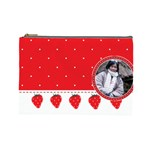 Red pokka dot kawaii cosmetic bag - Cosmetic Bag (Large)