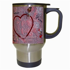 Old Fashioned Christmas Mug Angels Remember When Heart Star Snowflakes Pink By Ellan   Travel Mug (white)   Cwad7kwbmv4c   Www Artscow Com Right