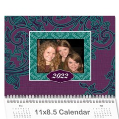 Purple & Turquoise 12 Month Calendar By Klh   Wall Calendar 11  X 8 5  (12 Months)   4k75tb4y086b   Www Artscow Com Cover