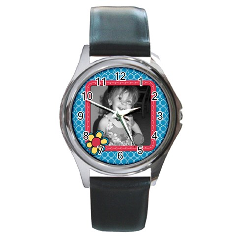 Whirlygig Watch 1 By Martha Meier   Round Metal Watch   Snq448dua4jl   Www Artscow Com Front