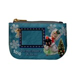 Stocking Stuffer Remember When Lantern Girl Merry Christmas blue mini coin purse