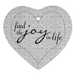 Joy In Life Heart Shaped Ornament - Ornament (Heart)