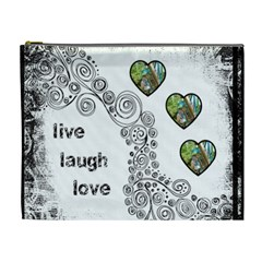 Live Laugh Love Monochrome Cosmetic Bag Extra Large By Catvinnat   Cosmetic Bag (xl)   3y7y6c2cfuax   Www Artscow Com Front