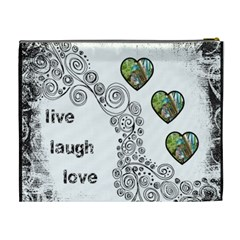 Live Laugh Love Monochrome Cosmetic Bag Extra Large By Catvinnat   Cosmetic Bag (xl)   3y7y6c2cfuax   Www Artscow Com Back