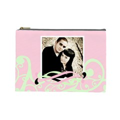 Mint & Pink Cosmetic Bag Lg Template By Danielle Christiansen   Cosmetic Bag (large)   Dlyapnpor5w1   Www Artscow Com Front