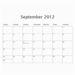 Faded Glory Monochrome 2012 Calendar By Catvinnat   Wall Calendar 11  X 8 5  (12 Months)   X4q768afo7t7   Www Artscow Com Sep 2012