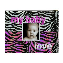Baby Love Pink & Zebra Cosmetic Case Extra Large By Catvinnat   Cosmetic Bag (xl)   Zgqzzn0h3axf   Www Artscow Com Back
