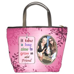 Friends Pink Floral Bucket Bag By Lil    Bucket Bag   740xd5pu55fm   Www Artscow Com Back