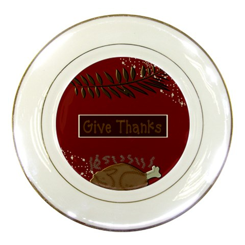 Give Thanks Thanksgiving Plate By Danielle Christiansen   Porcelain Plate   Wj6d1euty5vi   Www Artscow Com Front
