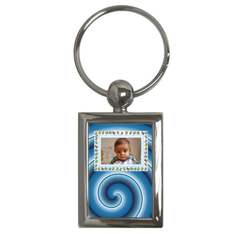 Blue Swirl  Baby Key Chain By Daniela   Key Chain (rectangle)   Ive1rv07dx6l   Www Artscow Com Front