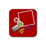 Red Square Photo Coaster 4 pack - Rubber Square Coaster (4 pack)