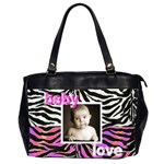 baby love, my baby love pink n zebra oversized office bag - Oversize Office Handbag (Two Sides)