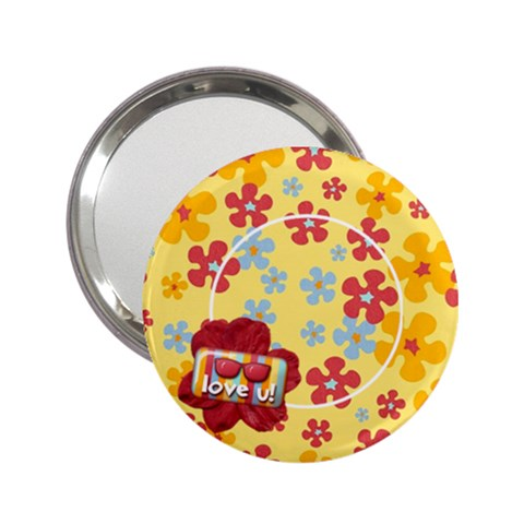 Love U Summer Flowers Pocket Mirror By Mikki   2 25  Handbag Mirror   4dhl4xwh89q4   Www Artscow Com Front