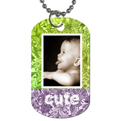 Cute Smile Purple & Green Floral Dog Tag By Catvinnat   Dog Tag (two Sides)   Tg5simcmbc90   Www Artscow Com Front