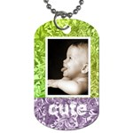 cute smile purple & green floral dog tag - Dog Tag (Two Sides)