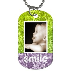 Cute Smile Purple & Green Floral Dog Tag By Catvinnat   Dog Tag (two Sides)   Tg5simcmbc90   Www Artscow Com Back