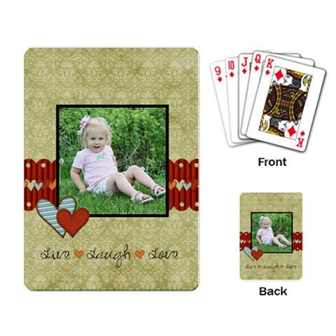 Live Laugh Love Playing Cards By Sheena   Playing Cards Single Design   Voa7pz7jko6x   Www Artscow Com Back