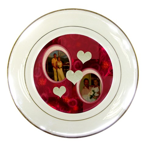 I Heart You Pink Wedding Decorative Plate By Ellan   Porcelain Plate   5tg7opg2bpny   Www Artscow Com Front