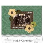 Blue & Brown Heritage 12 Month Calendar - Wall Calendar 11  x 8.5  (12-Months)