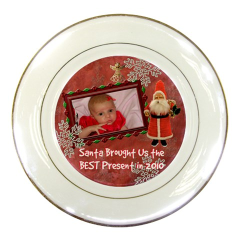 Santa Brought Us The Best Present In 2010 Blue Girl Decorative Plate By Ellan   Porcelain Plate   Qswg368e3tzy   Www Artscow Com Front
