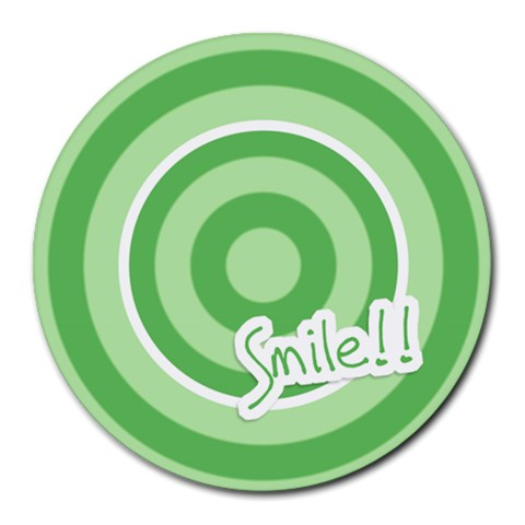 Smile Mousepad 01 By Carol   Round Mousepad   Qzcbr6r5p0ip   Www Artscow Com Front