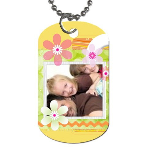 Flower Family By Joely   Dog Tag (one Side)   Qze8d03krzcc   Www Artscow Com Front