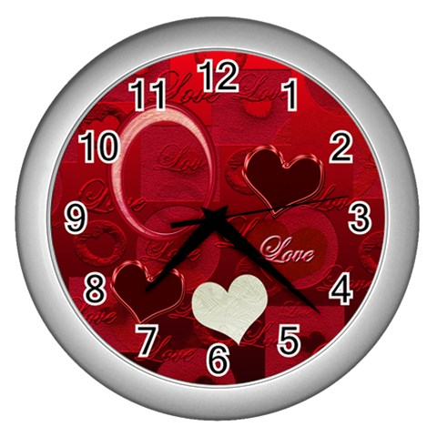 I Heart You Red White Wall Clock By Ellan   Wall Clock (silver)   H6en243vm512   Www Artscow Com Front