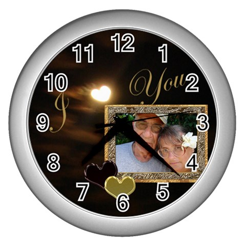 I Heart You Moon White Wall Clock By Ellan   Wall Clock (silver)   Aqervjp3d06b   Www Artscow Com Front