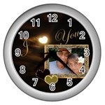 I Heart You Moon White Wall Clock - Wall Clock (Silver)