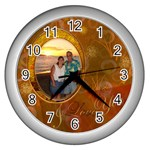 I Heart You gold White Wall Clock - Wall Clock (Silver)