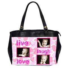 Live Laugh Love Pink Hearts Oversized Office Bag By Catvinnat   Oversize Office Handbag (2 Sides)   Uk58dhyhcfm2   Www Artscow Com Front
